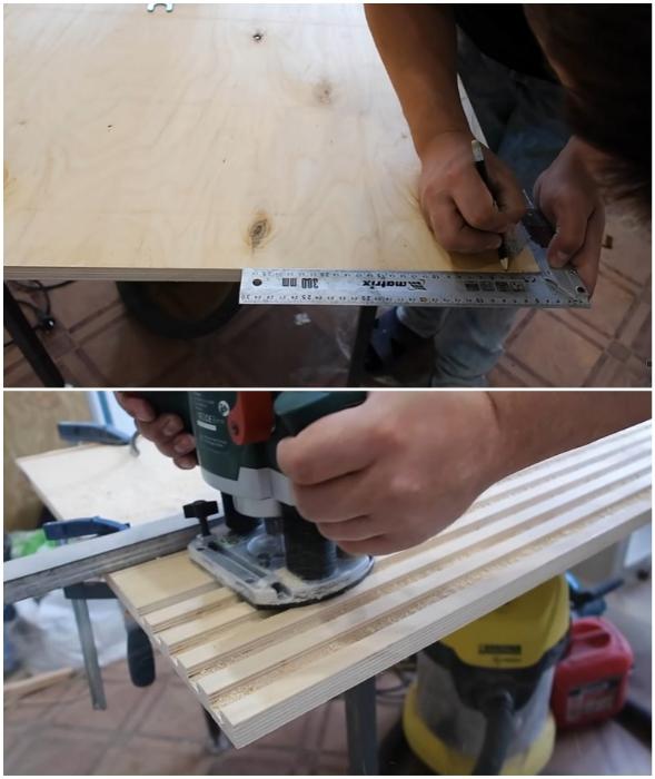 В фанере толщиной минимум 20 мм сделать пазы глубиной 10 мм.