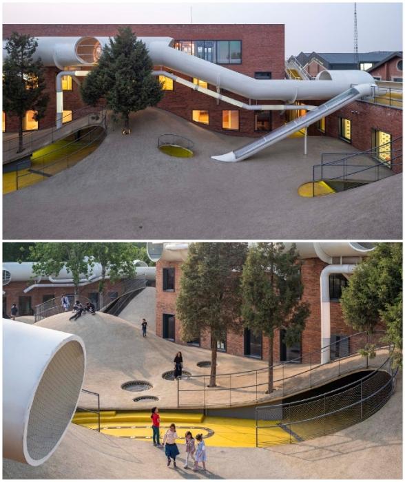 Вся территория бывшего зернохранилища превращена в гигантский игровой комплекс для детей всех возрастов (Children's Community Centre The Playscap).