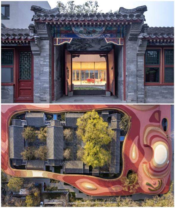 Новое здание детского сада образует «плавающую крышу», которая соединяет множество независимых пространств в единое целое (YueCheng Courtyard, Пекин).