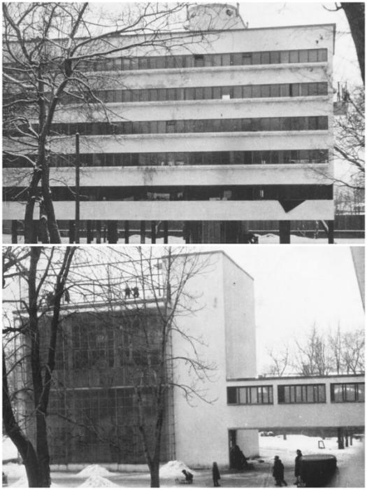 Идея создания жилого комплекса «Дом Наркомфина» очень быстро была признана утопией (Москва).