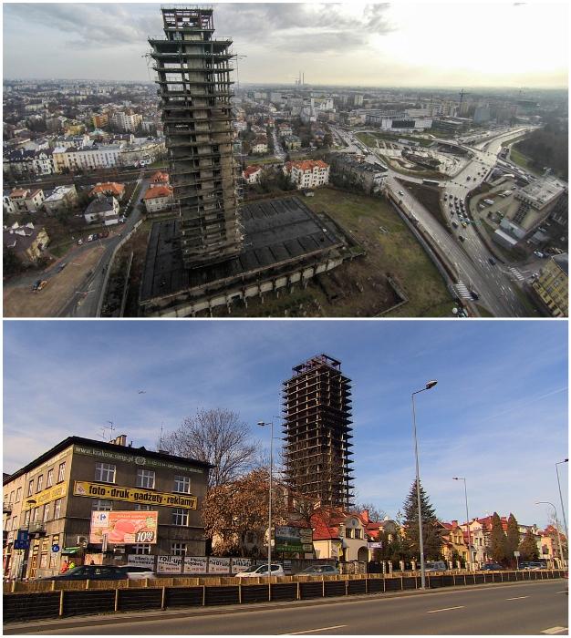 Заброшенный небоскреб с прозвищем «Шкелетор» более 40 лет портит горизонт красивейшего города Польши (Краков).