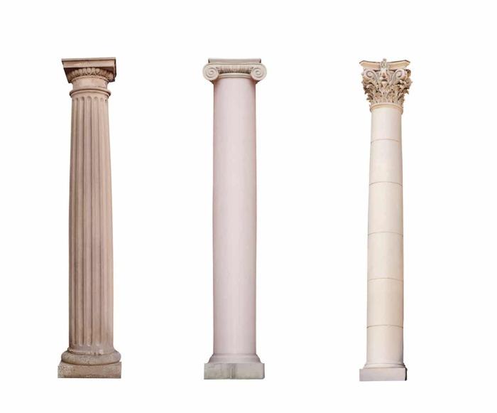 Примеры колонн дорического, ионического и коринфского стилей. | Фото: mymodernmet.com.