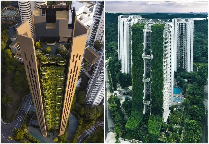 Интеграция природной среды в урбанизированное пространство мегаполисов (жилые небоскребы Сингапура).