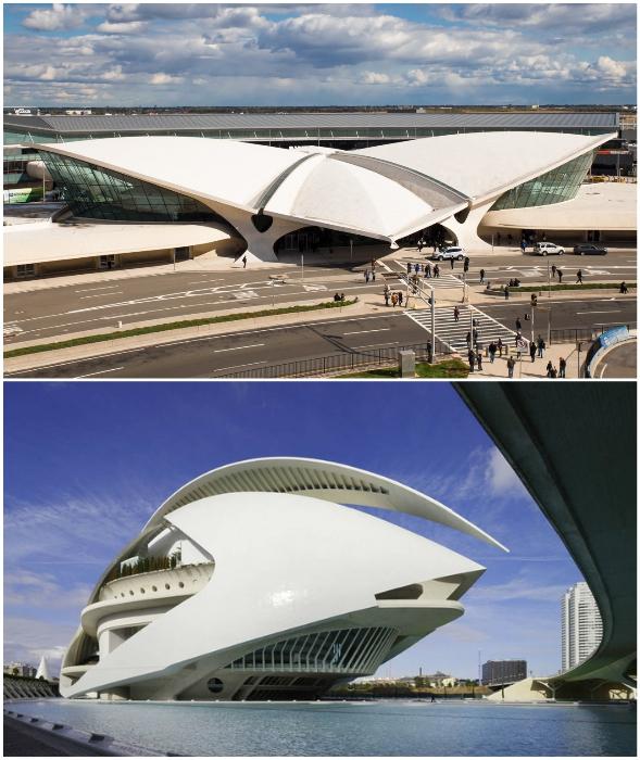Экспрессионисты рассматривают архитектуру как произведения искусства (Международный аэропорт имени Джона Кеннеди – Ээро Сааринен, «Город искусств и наук» – Сантьяго Калатрава).