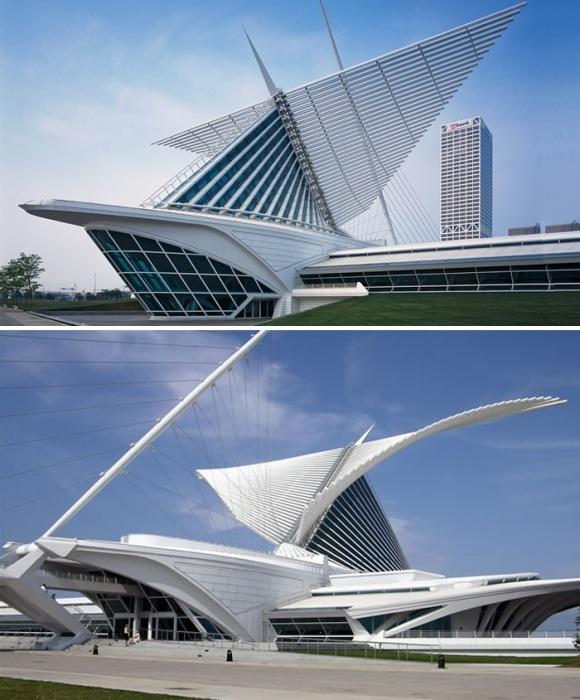 Крылатый музей на берегу озера Мичиган привлекает своими футуристическими формами (The Milwaukee Art Museum, США).