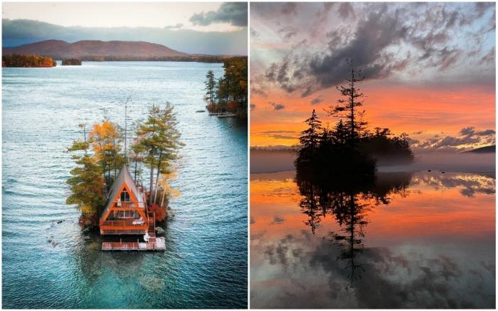 Отельный номер Oliver Lodge станет островом мечты для большинства интровертов (Нью-Гэмпшир, США).