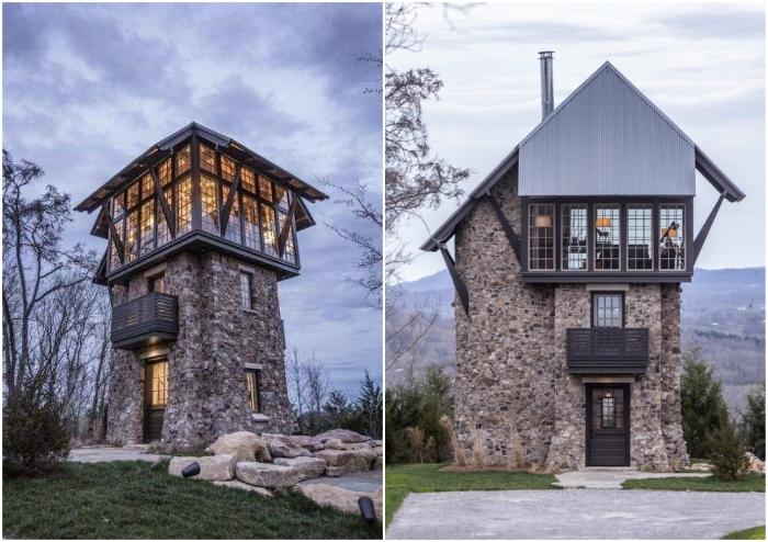 Трансформация каменной башни в гостевой дом с балконом и панорамной гостиной.