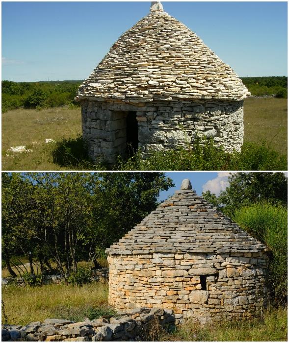 Каменные дома строились без капли цементного раствора (кажун, Хорватия).