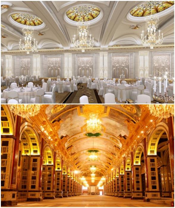 Итальянский ресторан и подземный коридор, соединяющий все корпуса крупнейшего гостиничного кластера Sanya Beauty Crown Hotel Tower (Китай).