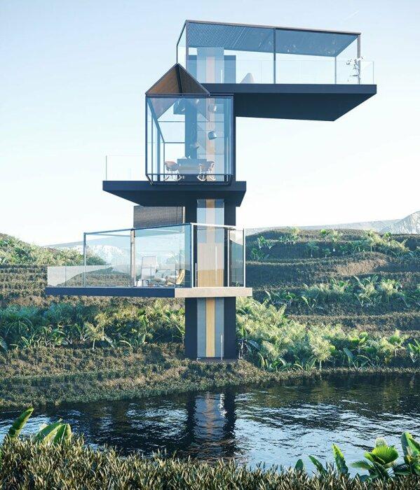 Китайские дизайнеры представили концепт прозрачного дома, главной изюминкой которого станет лифт («Дом на рисовом поле»). | Фото: mymodernmet.com.