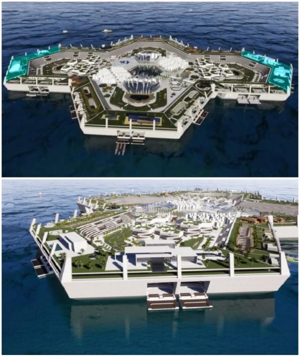 Впечатляющий плавучий город-остров в мире (концепт Blue Estate).