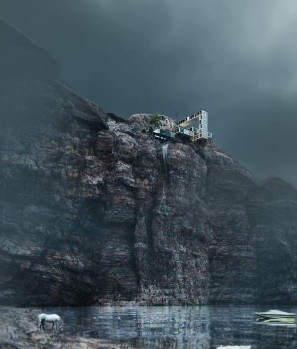 Дерзкая архитектурная концепция «Горного дома», который свисает с крутого утеса (концепция архбюро Milad Eshtiyaghi). | Фото: miladeshtiyaghi.com.