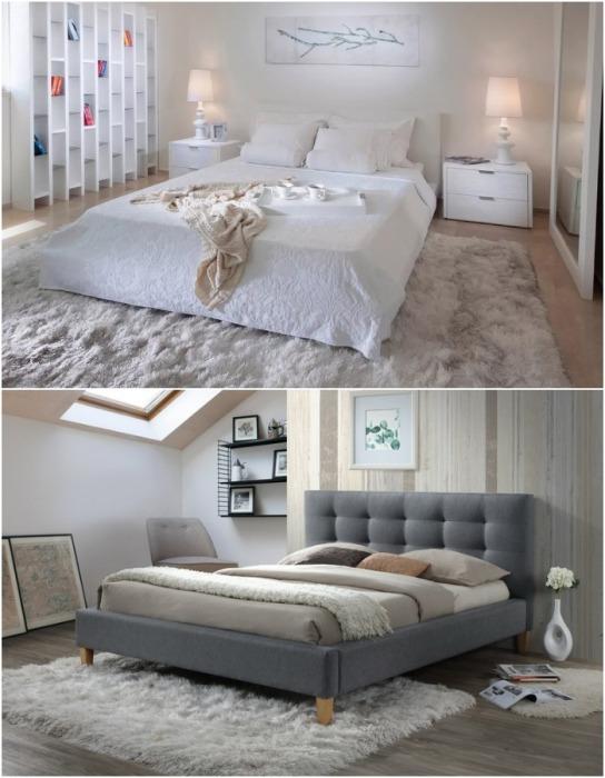 Если хочется в спальне иметь пушистый ковер, то лучше предпочесть негабаритное покрытие.