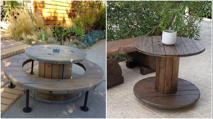 Из катушки для кабеля можно даже самостоятельно сделать добротную садовую мебель.