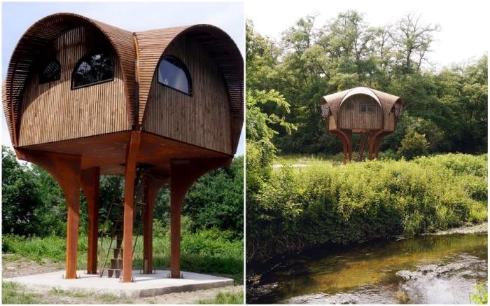 Сказочный приют для туристов Le Haut Perche расположен среди лесов и ручьев на окраине Бордо (Франция).
