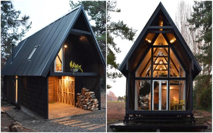 Современная лесная хижина Casa R расположена в Национальном природном заповеднике вблизи от озера Кольбун (Чили).