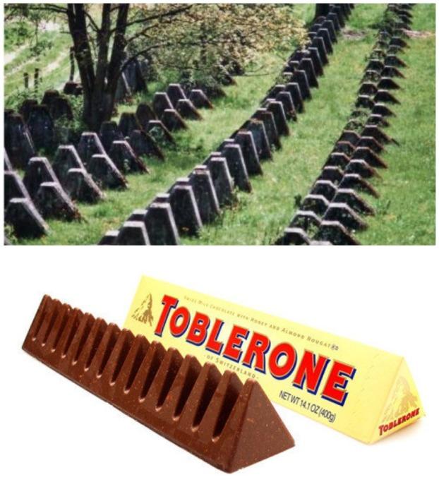 Самая впечатляющая линия создана на подступах к Женеве (Toblerone lines, Швейцария).