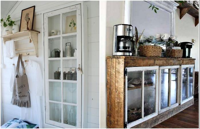 Кухонные тумбы и шкафчики тоже можно сделать из потрепанных временем и погодой оконных рам.