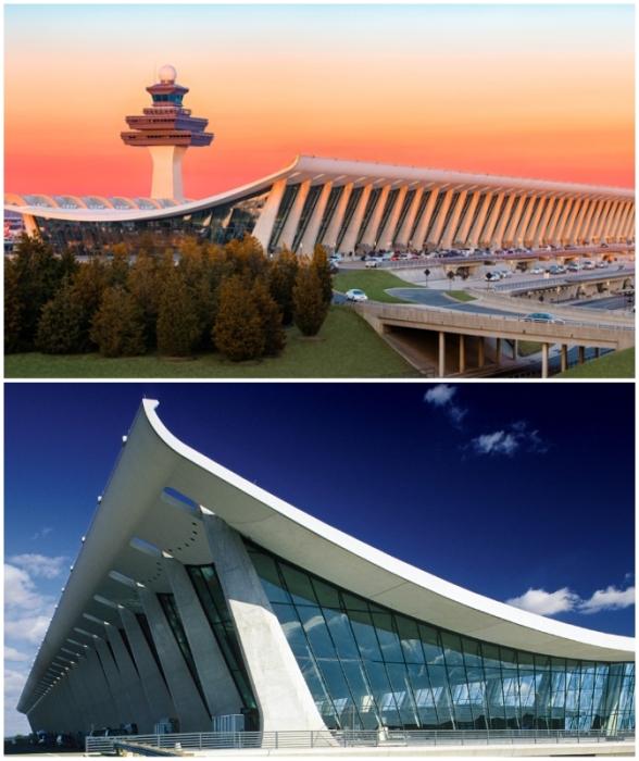 Основной терминал Dulles International Airport – яркий пример драматических форм, определяющих большую часть творчества Сааринена (Даллес, США).