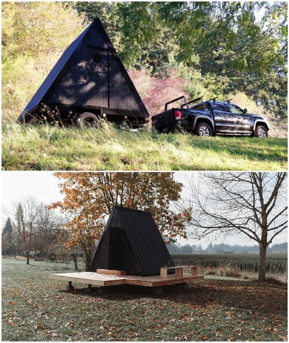 Крошечный домик можно взять с собой в путешествие или использовать в качестве домашнего офиса/гостевой комнаты на своем участке (Bivvi Cabin).