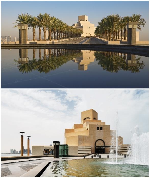 Чтобы подчеркнуть значимость культурного центра и монументальность архитектурных форм, здание возводилось на искусственном острове (Museum of Islamic Art in Doha, Катар).