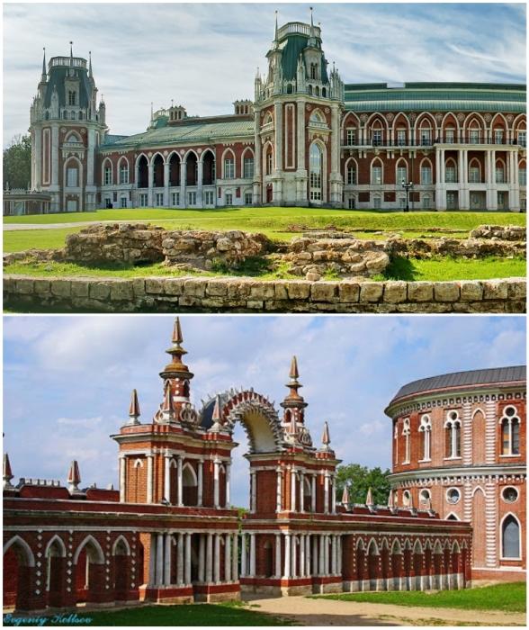 Фасады зданий, галереи-ограды и мосты богато декорированы («Усадьба Царицыно», Москва).