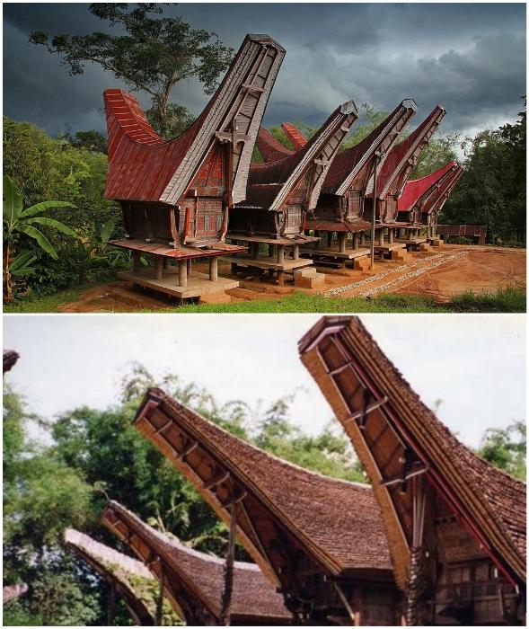 Теперь дома-лодки создают в качестве туристических объектов (батаки, Индонезия).