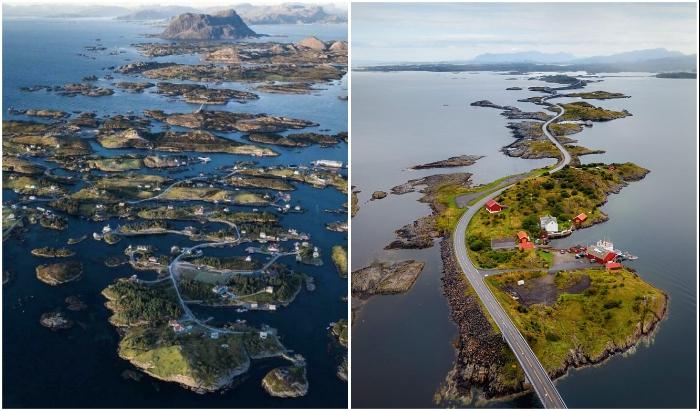 Рыбацкая деревня на архипелаге Буландет имеет дороги и мосты, которым можно позавидовать (Норвегия).