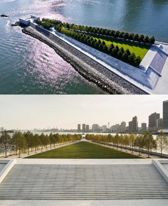 Парк четырех свобод на острове Рузвельта — это торжество чистой геометрии и захватывающей природной красоты (Нью-Йорк, США).