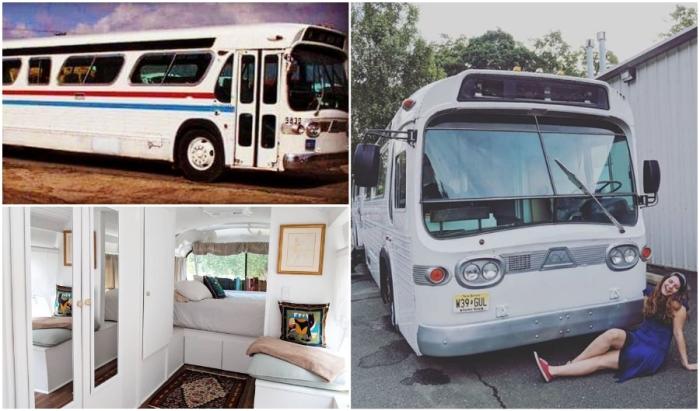 Джесси Липскин потратила 3 года, чтобы превратить старый автобус в благоустроенную квартиру на колесах.