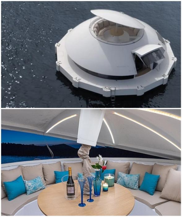 Автономный плавучий дом «Anthenea» станет идеальным местом для уединенного отдыха среди водоема.
