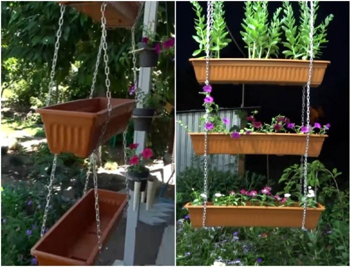 Чтобы подвесной цветник стал украшением небольшого участка или балкона, много времени и материалов не понадобится.