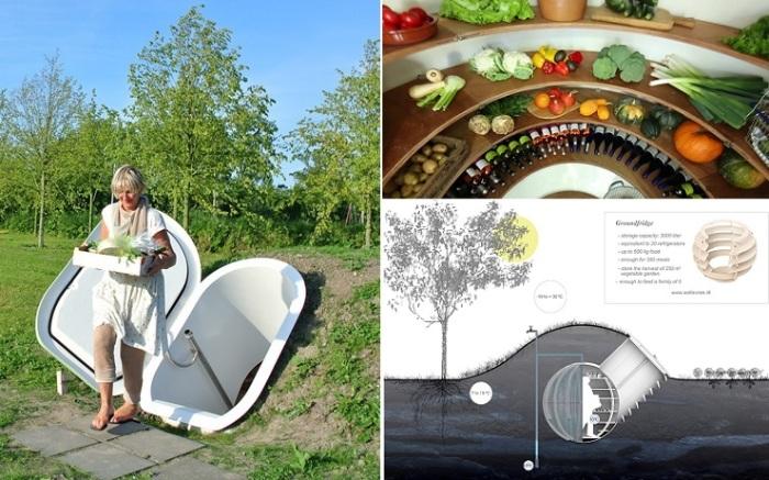 Сферический подземный холодильник поможет без электричества сохранить фрукты, овощи, вяленое мясо, грибы, сыры, вино и консервацию (Groundfridge Weltevree).