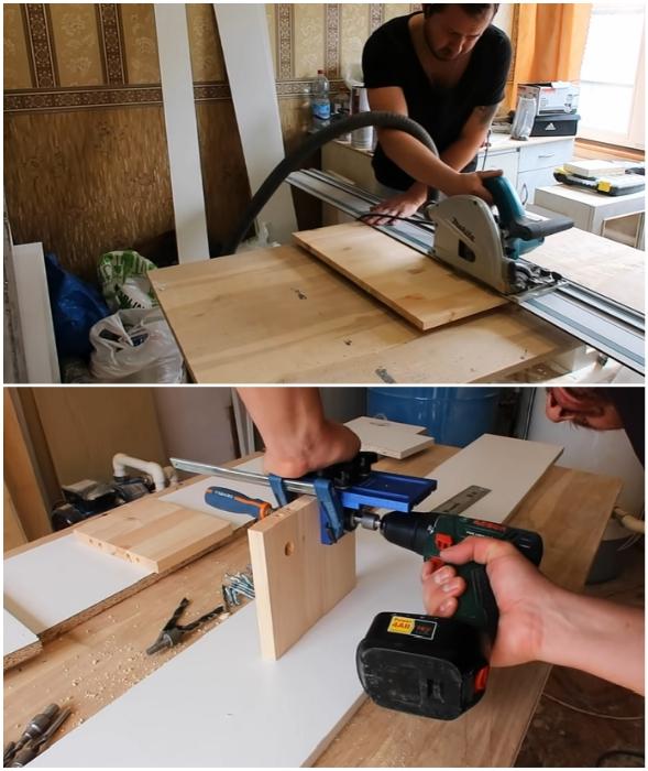 Процесс нарезки деталей полки и создание отверстий и углублений под крепежи.