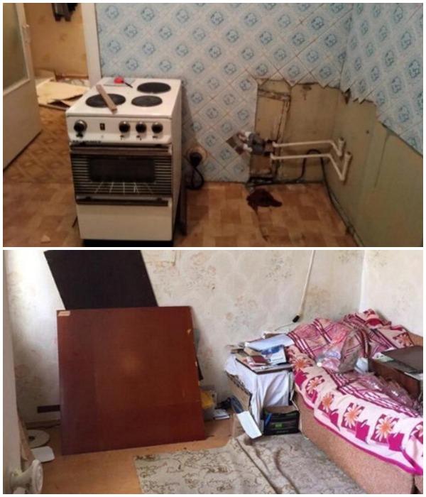 После выноса мебели квартира оказалась еще в худшем состоянии, чем казалось на первый взгляд.