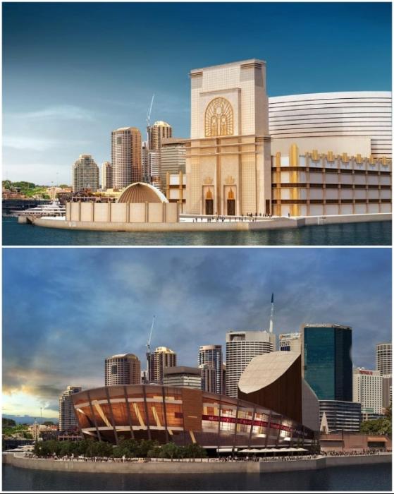 Одни из лучших проектов, представленных на конкурс дизайна Сиднейской оперы (работы дирижера Сиднейской оперы Юджина Гуссенса и венгерских архитекторов-новаторов Питера Коллара и Бальтазара Кораба.