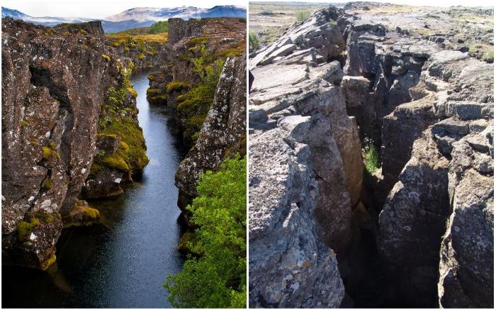 В Исландии можно своими глазами увидеть разлом Евразийской и Североамериканской тектонических плит.