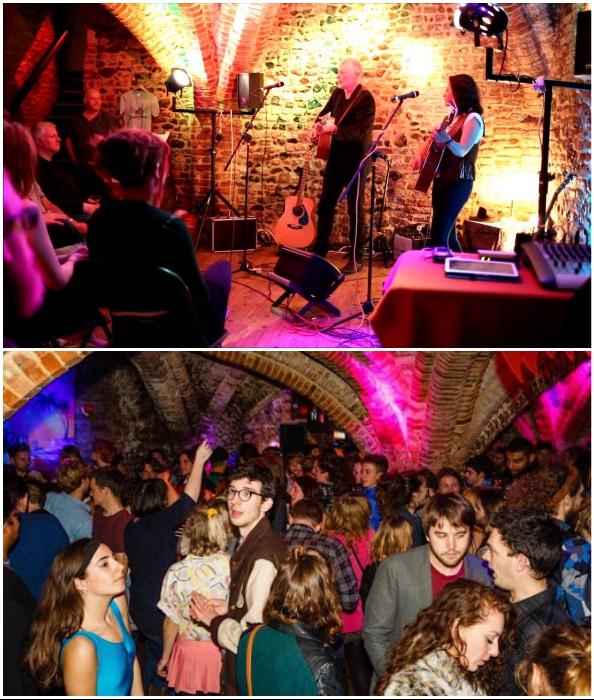 В подземном музыкальном заведении можно послушать андеграундную музыку или провести Рождественский корпоратив (Норвич, Великобритания).
