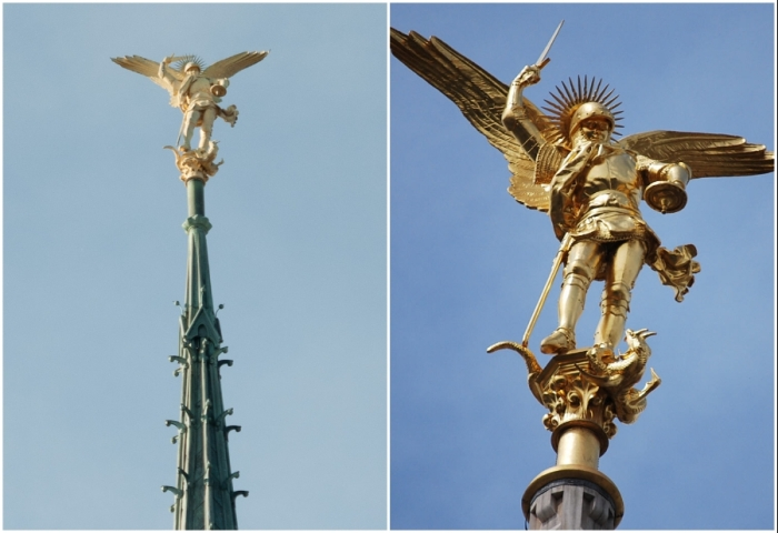 Статуя святого Архангела Михаила на шпиле католического храма (Mont Saint-Michel, Франция).