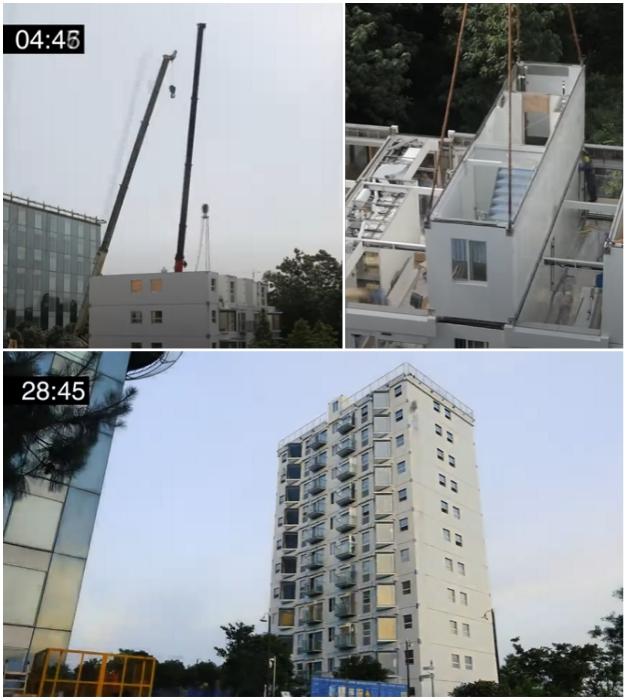 В Китае 10-этажный жилой дом построили «под ключ» всего за 28 часов 45 минут (г. Чанша).