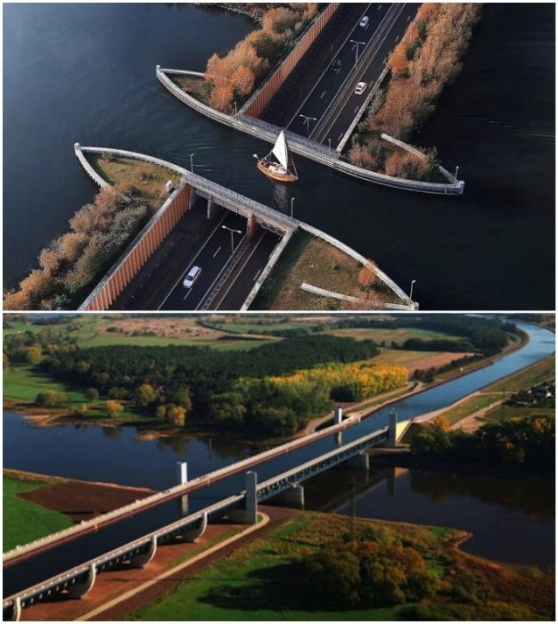 Удивительные каналы для кораблей (акведук Велювемеер в Нидерландах и Магдебургский водный мост в Германии).