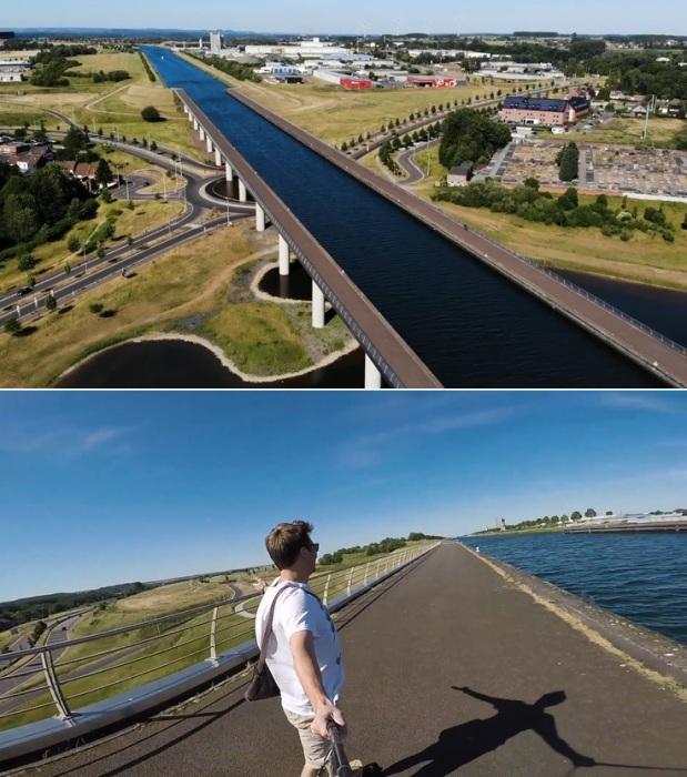 На водном мосту оборудованы пешеходные зоны, где можно прокатиться с ветерком (Le pont–canal du Sart, Бельгия).