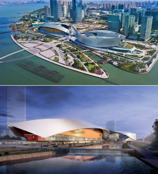Новый культурный объект гармонично вписался и в городской ландшафт, и в прибрежный пейзаж (Suzhou Bay Grand Theatre, Китай).