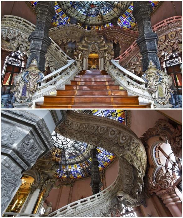 Сказочная красота интерьеров выставочных площадок, вестибюлей и лестниц музея (The Erawan museum, Бангкок).