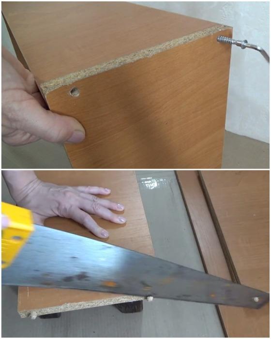 Ящик требуется разобрать и подогнать все детали до нужного размера.