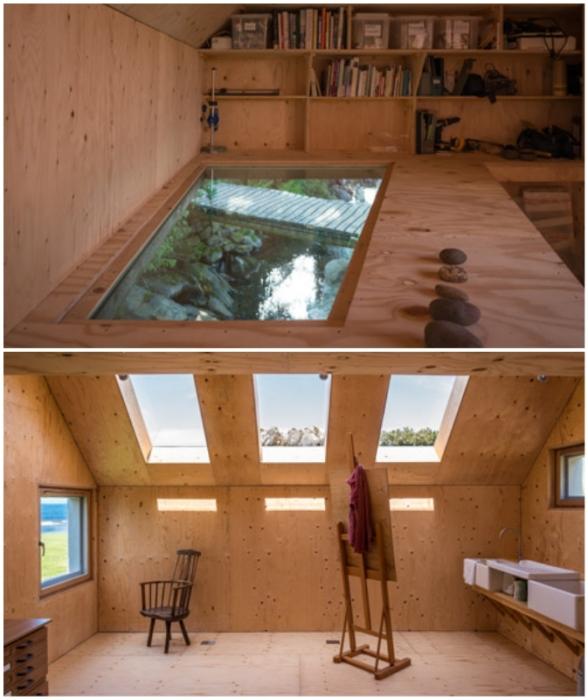 Минималистичный интерьер, украшением и вдохновением которого стали мансардные окна и прозрачная столешница, под которой протекает ручей (Midden Studio, Шотландия).