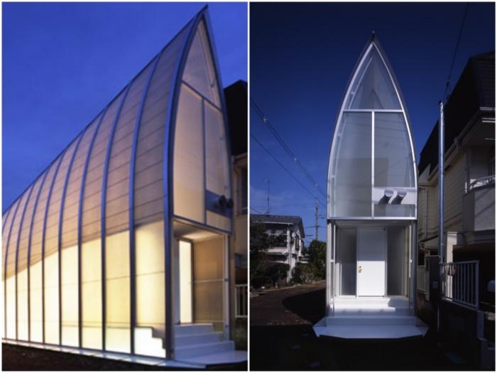 Каплевидный дом с полупрозрачными стенами похож на бумажный фонарик (Lucky Drops, Токио).