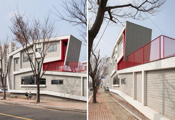Один из самых узких домов Южной Кореи имеет нестандартные формы и планировку (Roll House, Мирян).