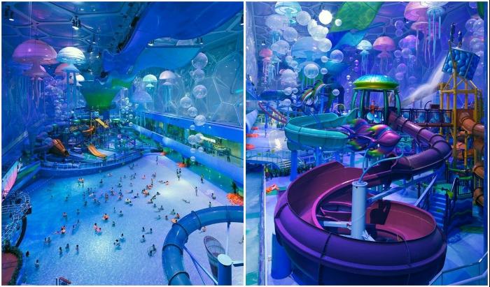 Захватывающие развлечения в крытом аквапарке National Aquatics Center порадуют и взрослых, и детей (Пекин, Китай).