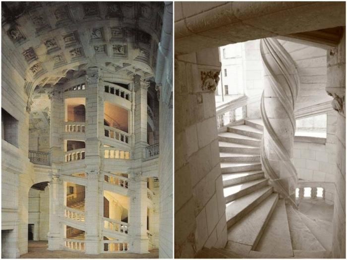 Лестница является особым произведением искусства, очень быстро превратившаяся в модный элемент архитектуры (Замок Шамбор, Франция).